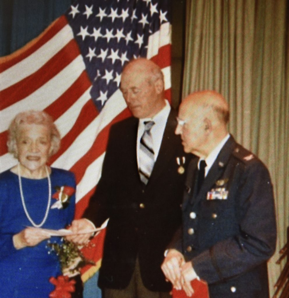Rep. Alexander Richard, of Madison, right, with U.S. Sen. Margaret Chase Smith and Ernold Williamson during a POW testimonial in Madison.