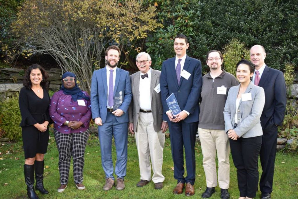 Camden National Bank members and board leaders from left are Renee Smyth, chief experience and marketing officer, Camden National Bank; Samaa Abdurraqib, Board co-chairwoman, Maine Inside Out, in Portland; Ben Martens, executive director, Maine Coast Fisherman's Association; Brad Babson, board president, Brunswick-Topsham Land Trust, in Brunswick; Ryan Ciriello, Development Committee chairman, Milestone Recovery, of Portland; Steven Bishop, treasurer, The Game Loft, in Belfast; Chelsea Ellis, board director, Hardy Girls Healthy Women, in Waterville; and Greg Dufour, president & CEO, Camden National Bank, in Brunswick.