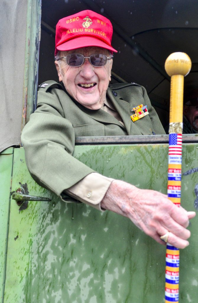 World War II Marine Corps veteran Cliff West, of Winthrop, attended the Veterans Day observances Saturday in Readfield.