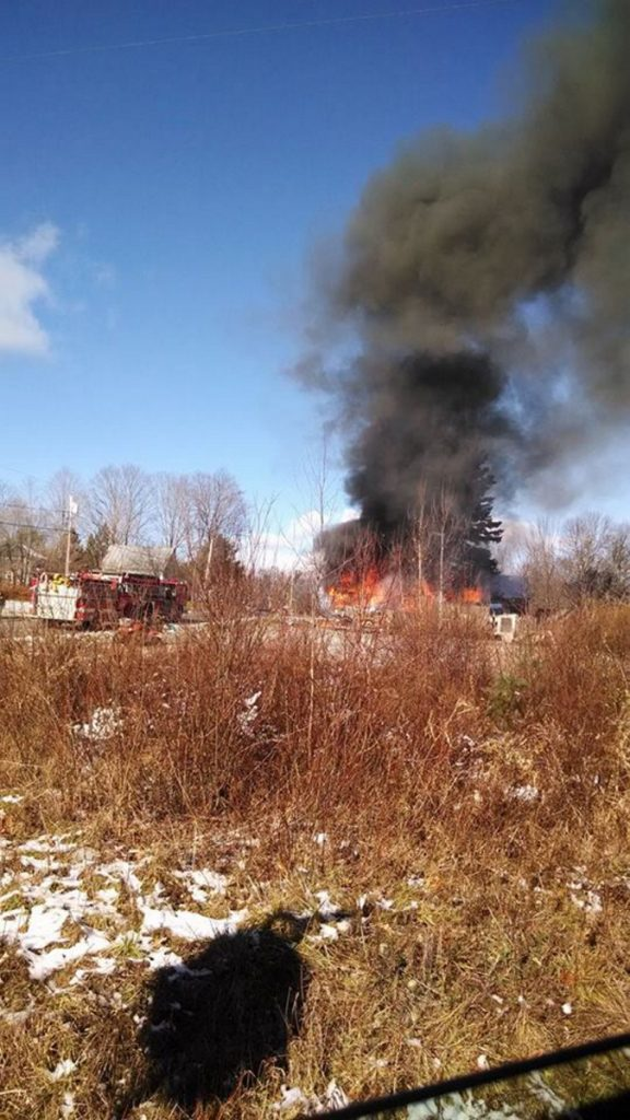 Fire destroyed a home on North Road in Athens on Sunday. There was no report of injuries.
