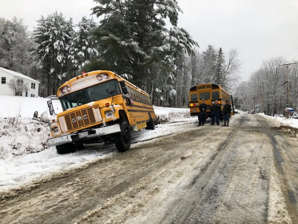 A school bus from Cornville Regional Charter School slipped off Malbons Mills Road during Tuesday's snowstorm. Five students suffered minor injuries and were taken to a local hospital by ambulance.
