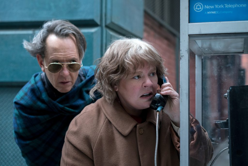 "Richard E. Grant as Jack Hock and Melissa McCarthy as Lee Israel in the film ""Can You Ever Forgive Me?"""