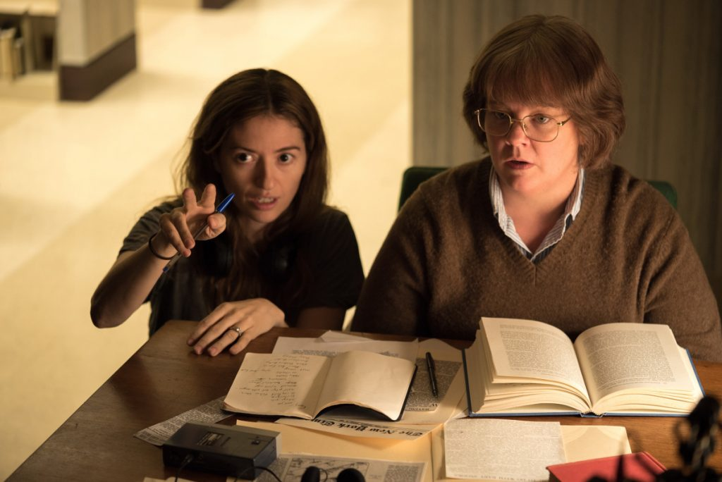 "Director Marielle Heller and Melissa McCarthy on the set of ""Can You Ever Forgive Me?"""