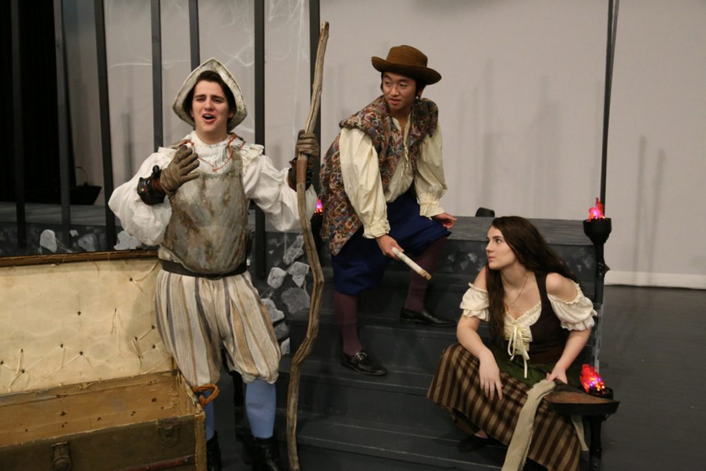 "The Skowhegan Area High School theater group will present ""Man of La Mancha"" Thursday, Friday and Saturday. Players, from left, are Taylor Kruse as Don Quixote, Kyle Lee as Sancho Panza and Emma York as Aldonza."