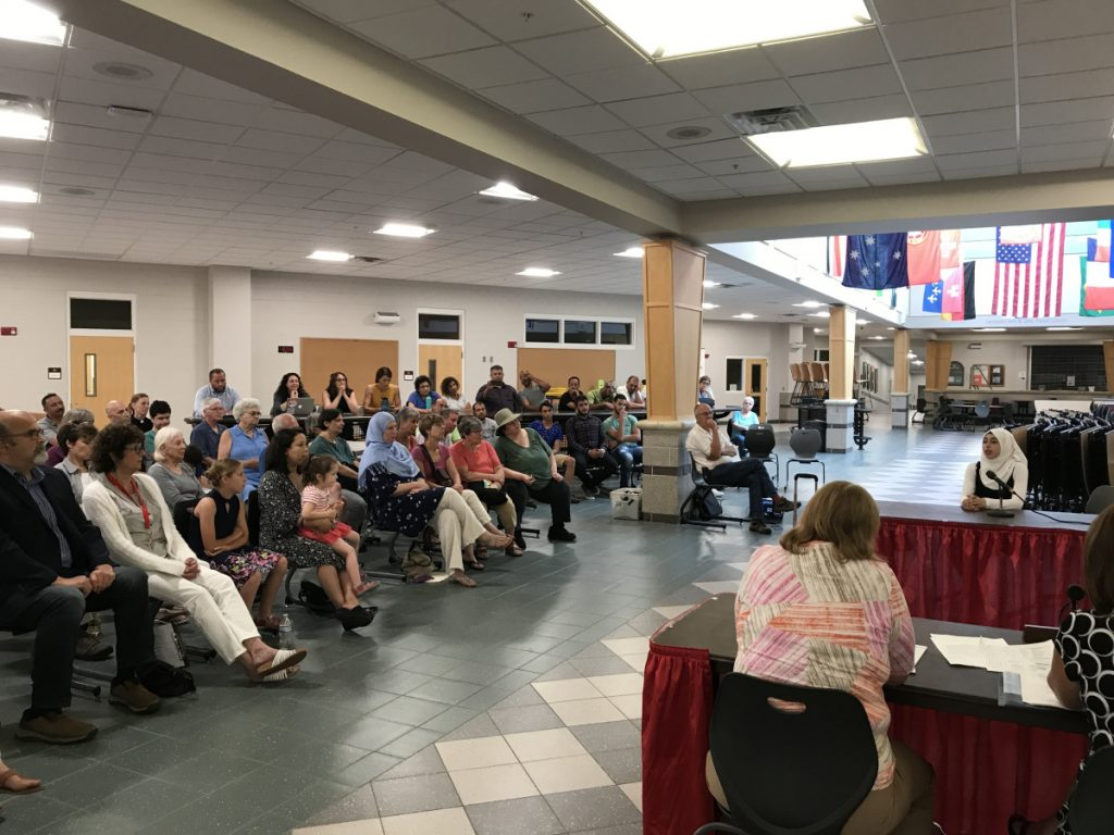 Fatima Halawa, a student at Cony High School whose family has moved to Maine from Syria, spoke about the holidays of the Muslim faith during an Aug. 6 meeting of the Augusta Board of Education's policy committee.