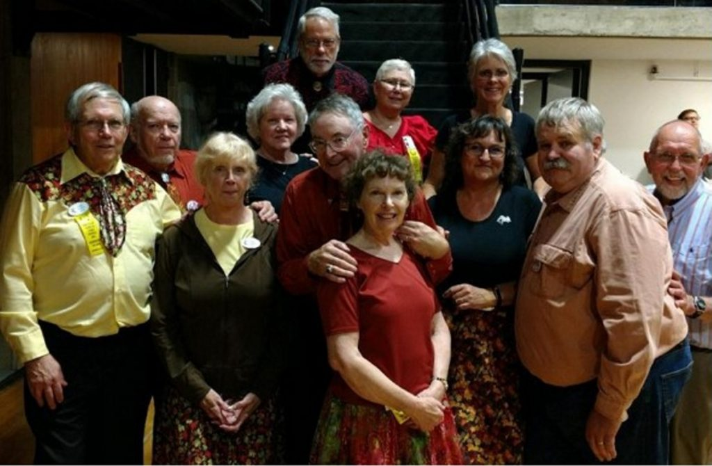 A group from Maine attended the Tumbling Leaves Square Dance Festival Oct. 19-21 in Bennington, Vermont. Front from left are Fred and Nanci Temple, of Richmond; Bruce and Margaret Carter, of Ellsworth; Kathleen and Larry Hillman, of Fairfield; and Milton Sinclair, of New Sharon. Back, from left, are Bob Brown and Cindy Fairfield, of Newport, Dave and Ellie Mulcahey, of Monmouth, and Charlotte Sinclair, of New Sharon.