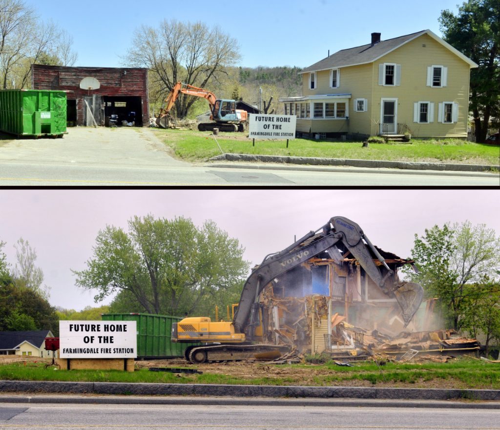 The top photo, from May 8, shows how a house at 571 Maine Ave. in Farmingdale, the last structure on that site, looked before Mid-Maine Construction knocked it down. The bottom photo shows its demolition on May 19. The town paid $190,000 for the lot, which is just north of Gosline's Hardware on Maine Avenue, also known as U.S. Route 201 and Route 27. Its last residents lived there for decades. The nearly 1-acre lot would be site of the new station that would have three bays and be 80 feet by 80 feet in size and would be set back 100 feet from the road.