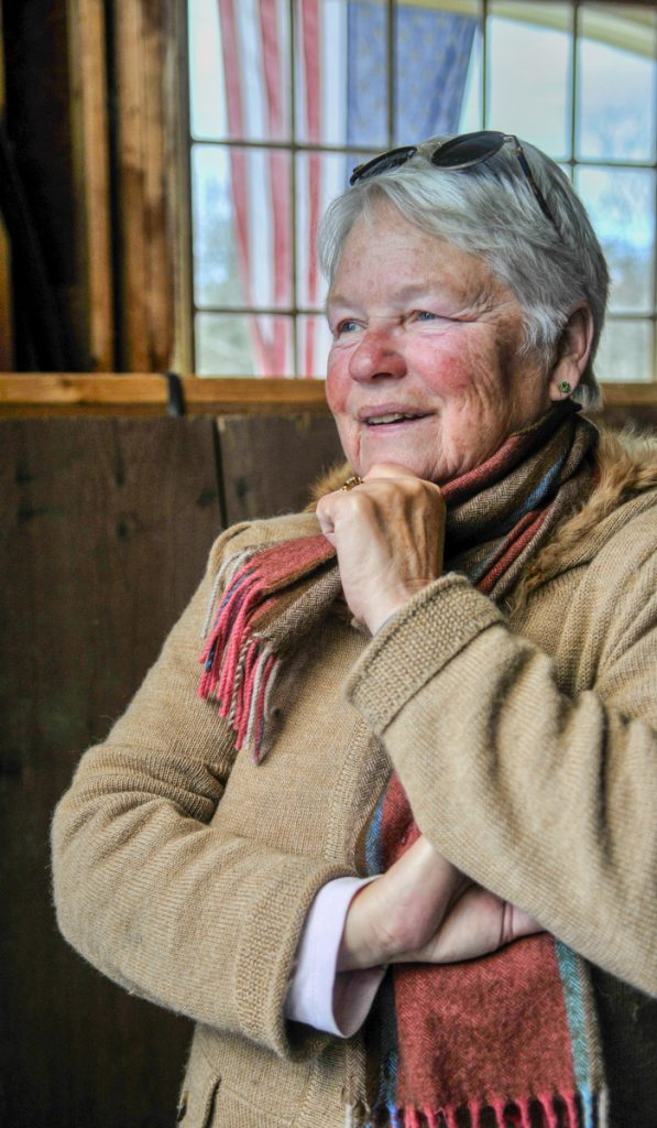 Judy Abbott poses for a portrait in the barn on Saturday at Foggy Moon Farm in West Gardiner.