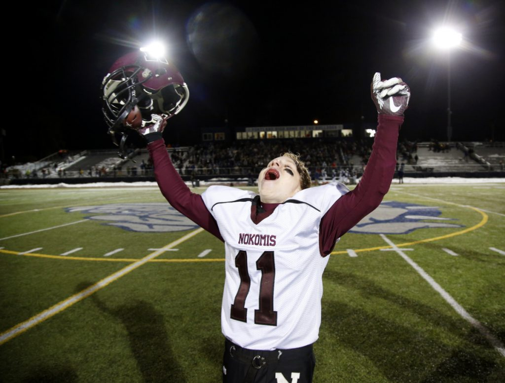Tyler Pelletier of Nokomis celebrates after defeating Fryeburg in the Class C state championship game Saturday at Fitzpatrick Stadium in Portland.