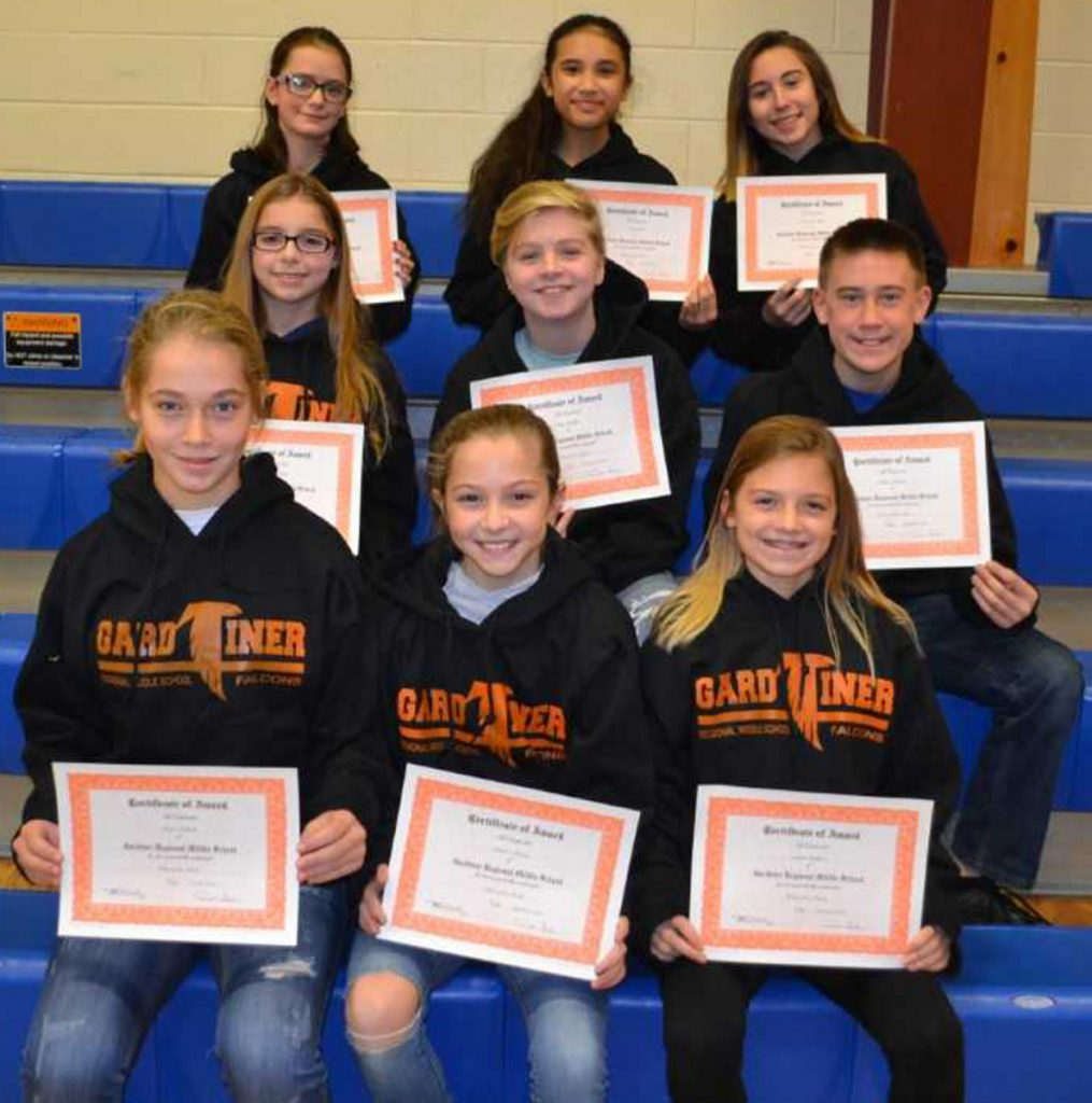 Gardiner Regional Middle School has announced its Falcons for the Month for the first quarter, September, October and November. Front from left are Taryn Nichols, Danica Martin and Sophie Guthrie; middle, from left, are Katelyn Sieberg, Clara Dudley and Ethan Tibbetts; and back, from left, are Leanne Bourgoin-Thompson, Abby Hilt and Samantha Miller.