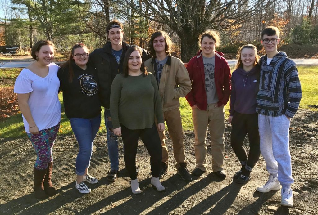 The Arts Academy Sidekicks, from left, Jocelyn Begin, Tabi Lint, Chase Stewart, April Hughes (HCCA) Aaron Walsh, JonMarcus Willey, Kaia Trask and Ethan Quigley worked with Healthy Communities of the Capitol Area on substance abuse prevention projects.