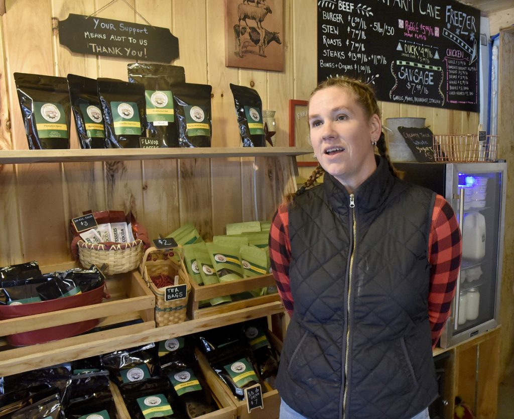 Carrie Tessier, shown Tuesday in her farm produce shop at the Tessier Farm in Skowhegan, speaks about the virtues of consuming home-raised turkeys and how to process and cook the birds.