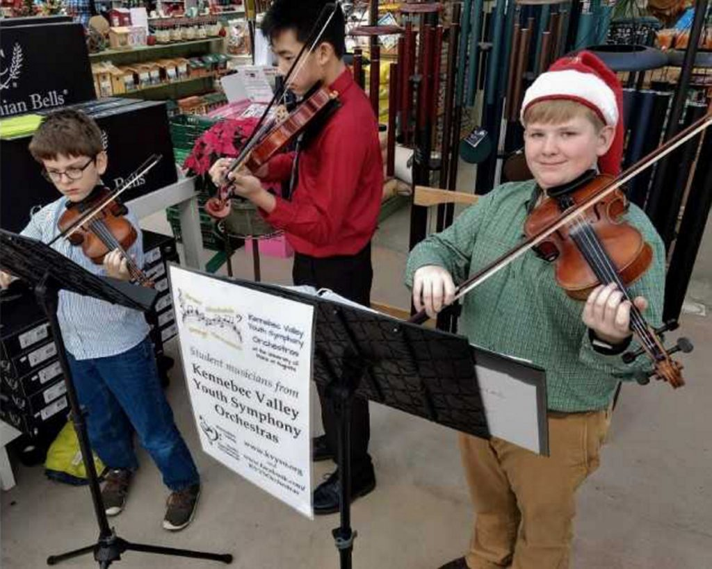 "Kennebec Valley Youth Symphony Orchestra's violinists Alden Gilg, Ethan Vattaso, and Owen Kennedy recently offered festive music for Longfellow's Greenhouses' Holiday Open House in Manchester. The students are preparing for their upcoming Dec. 9 concert at Hall-Dale High School in Farmingdale. For more information, visit <a href=""http://www.kvyso.org"">www.kvyso.org</a>."