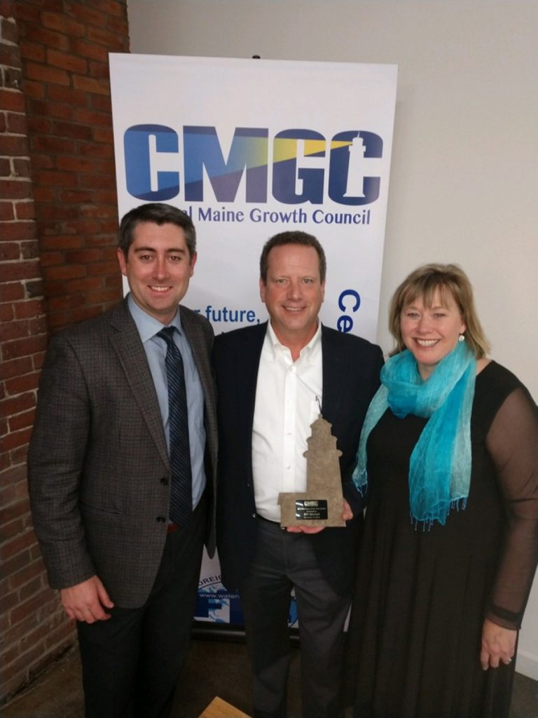 From left are Garvan D. Donegan, director of Planning & Economic Development, Central Maine Growth Council; Awardee 2018 Developer of the Year Bill Mitchell; and Kimberly N. Lindlof, president & CEO, Mid-Maine Chamber of Commerce & executive director, Central Maine Growth Council.
