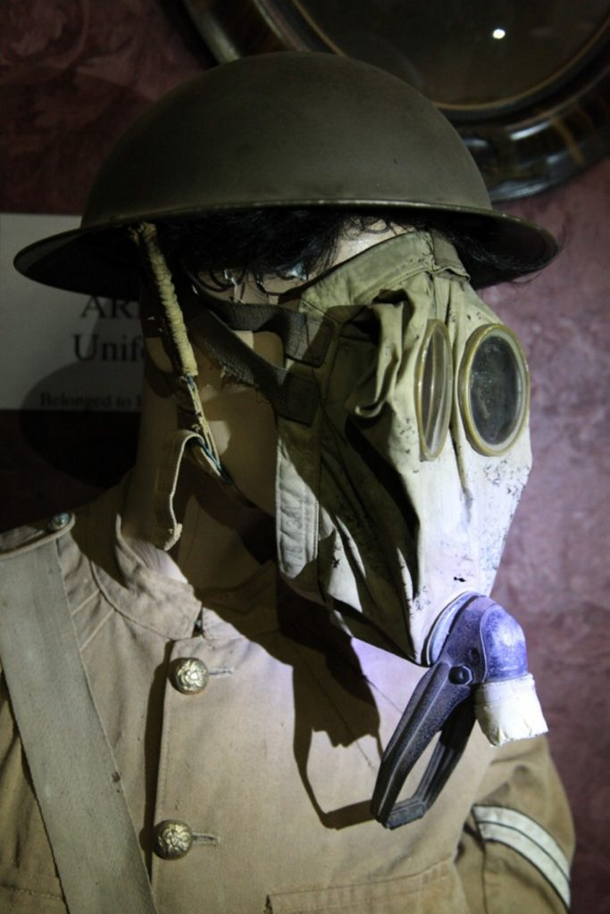 The Army uniform and the gas mask that Windsor native Harold Sproul used during his World War I service in France are on display in the Windsor Museum.