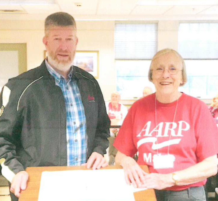 Greater Augusta AARP Chapter 511 recently donated $1,500 to Bread of Life Ministries during the chapter's ongoing renovation drive. The chapter raised the money by holding a yard sale, plant auction and various other endeavors during the 2017-18 year. From left are John Richardson, executive director of Bread of Life Ministries and Priscilla Costello, vice president of the chapter.