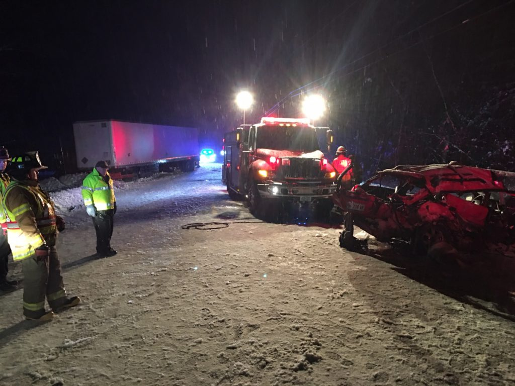 One person was killed and two others were hospitalized with serious injuries Tuesday after a Subaru Legacy and a Peterbuilt tractor trailer collided on Route 27 in Kingfield.