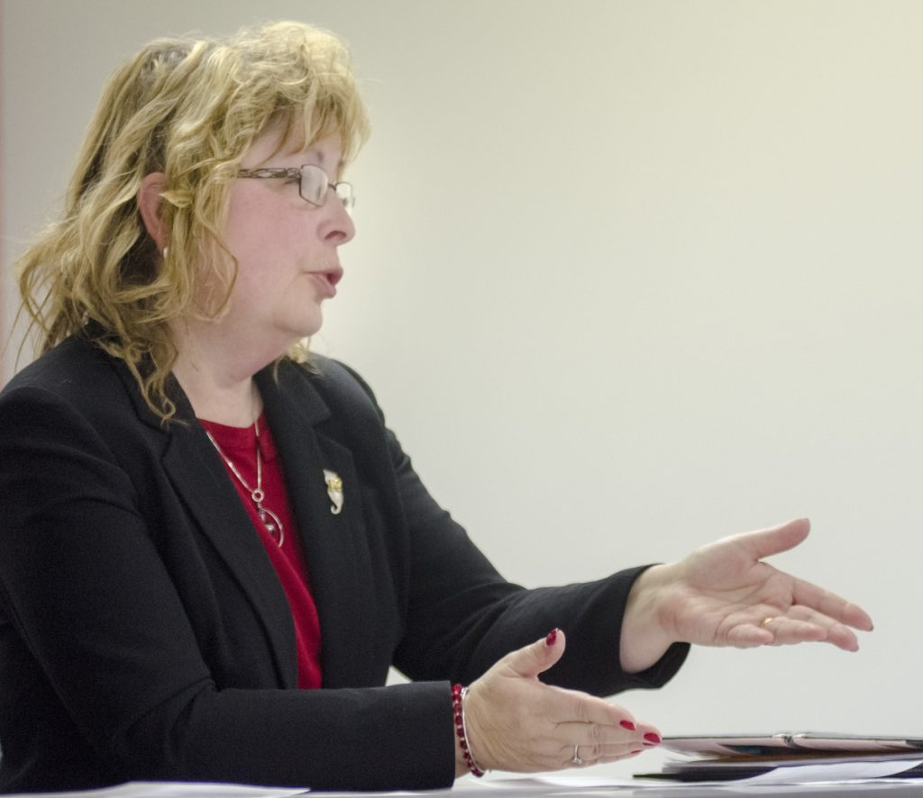 Former Waterville Ward 1 City Council candidate Catherine Weeks makes her case Wednesday before the Maine Ethics Commission in Augusta, urging the panel to investigate an anonymously distributed flyer that she says swayed the vote to her detriment and caused her ultimately to lose by two votes in the November election.
