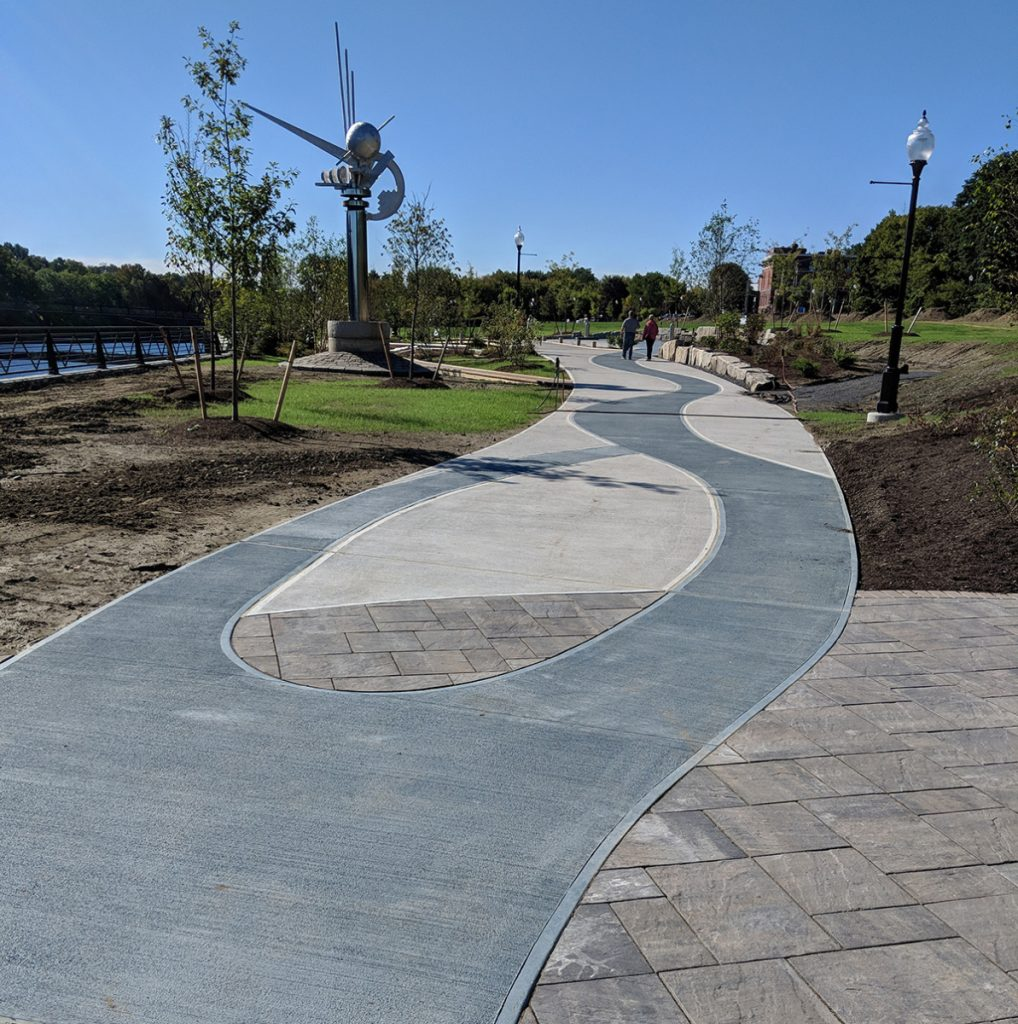 Waterville's new RiverWalk covers 2,200 feet along the Kennebec River, and includes public art, a gazebo and an ampitheater.