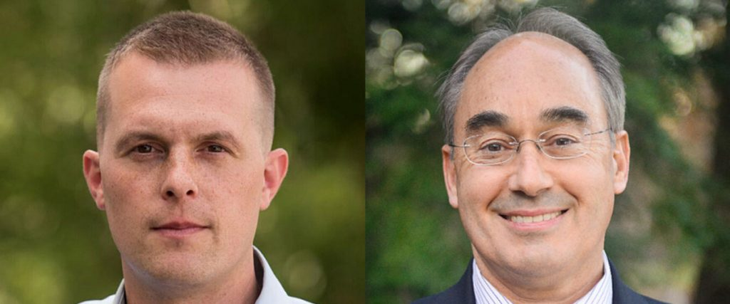 Democrat Jared Golden, left, hopes to unseat U.S. Rep. Bruce Poliquin, a Republican, in the Nov. 6 general election.