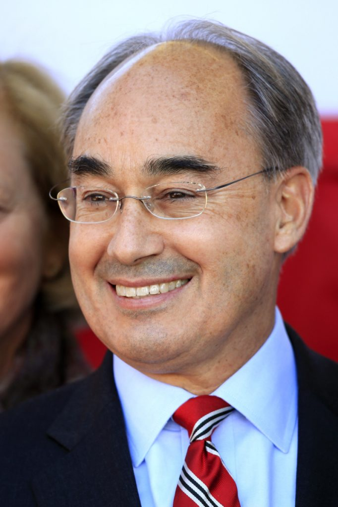 U.S. Rep. Bruce Poliquin, R-2nd District, attends the christening ceremony for the USS Raphael Peralta in Bath in October 2015.