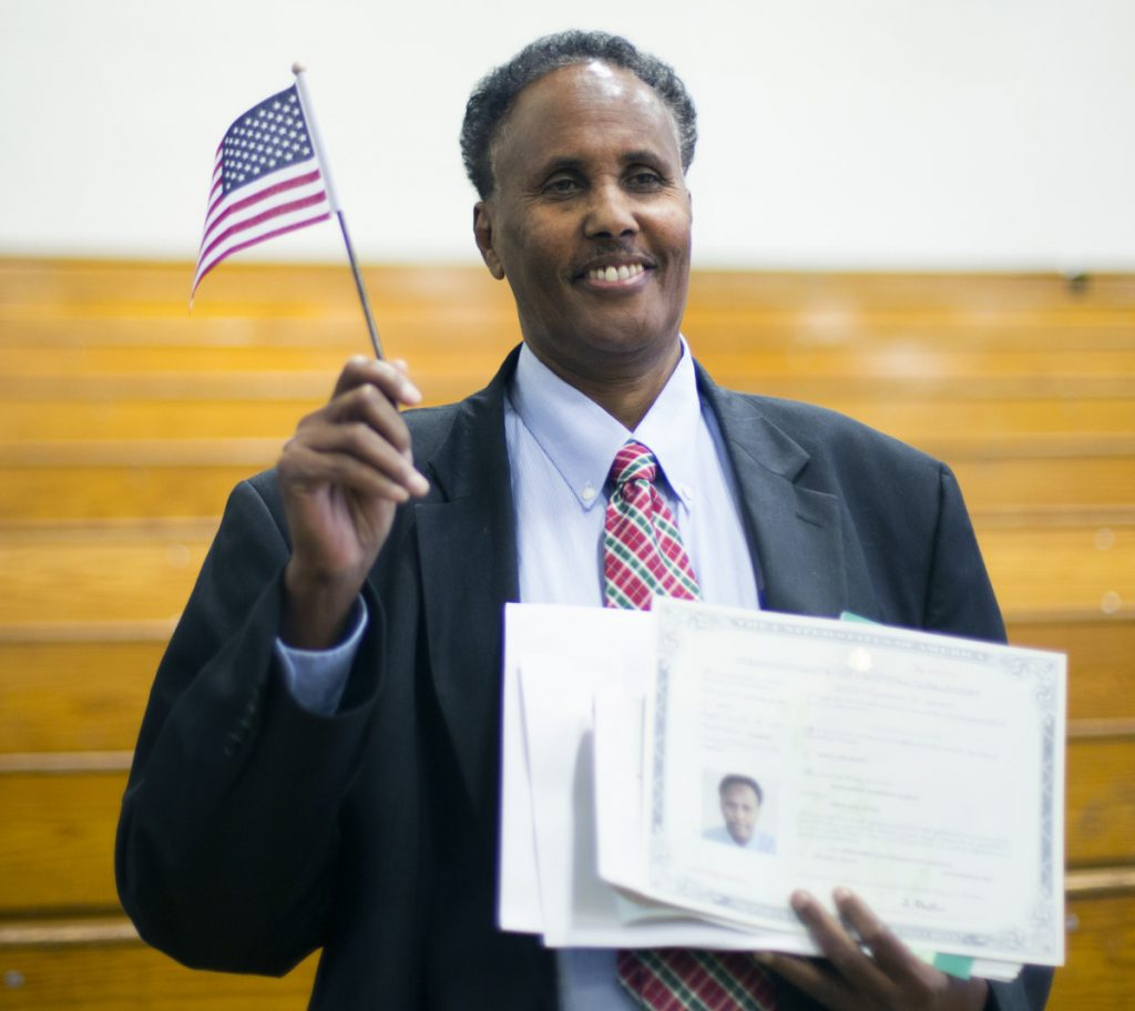 Mohammed Mahmoud Hassan, 64, fled Somalia and came here as a refugee in 2013. He works as a Catholic Charities interpreter.