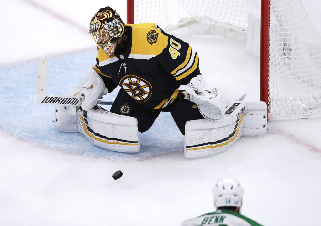 Boston goalie Tuukka Rask, a former Vezina Trophy winner, stopped 24 of 25 shots in a 2-1 win over Dallas on Monday night, his first action since a 3-0 loss to Montreal on Oct. 27.