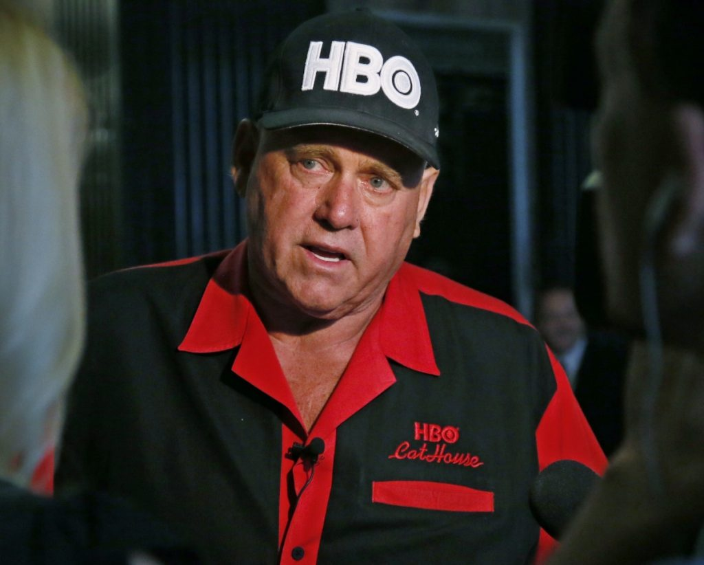 Dennis Hof, owner of the Moonlite BunnyRanch, a legal brothel near Carson City, Nevada, is pictured during an interview in Oklahoma City in 2016. Hof, who died last month after fashioning himself as a Donald Trump-style Republican candidate has won a heavily GOP state legislative district. Hof defeated Democratic educator Lesia Romanov on Tuesday in the race for Nevada's 36th Assembly District.