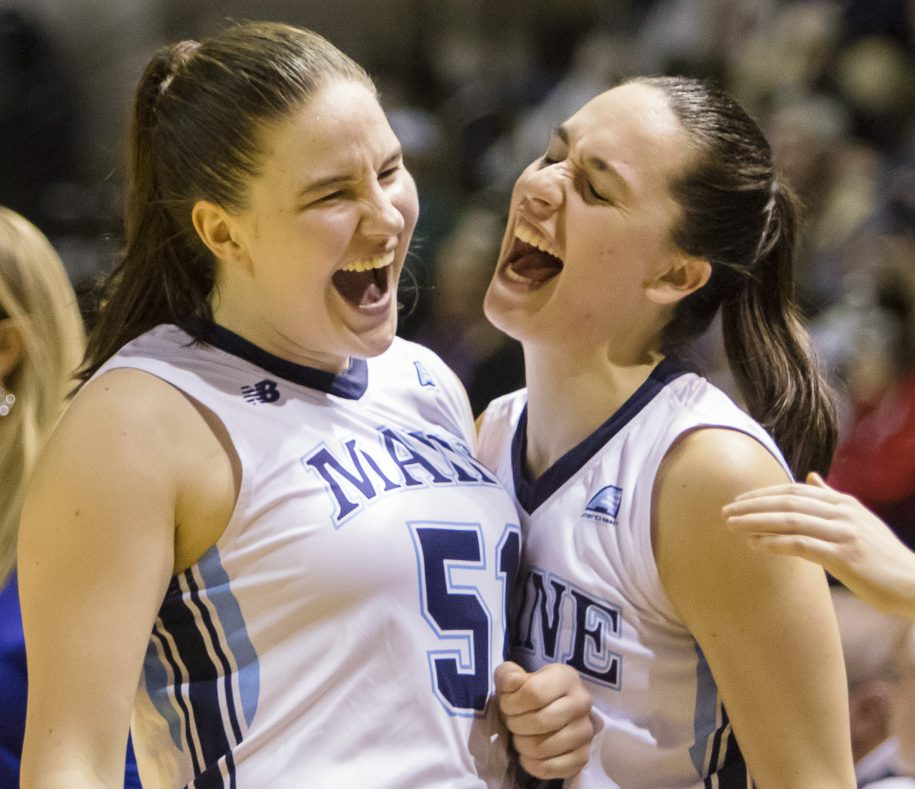 Fanny Wadling, left, and Blanca Millan will be looking to do more celebrating for UMaine, whose season starts Saturday in Bangor.