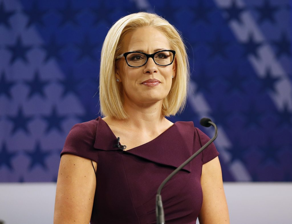 U.S. Rep. Kyrsten Sinema, D-Ariz., won Arizona's open U.S. Senate seat, beating Republican Rep. Martha McSally in the battle to replace Republican Sen. Jeff Flake, it was announced Monday. The race was among the most closely watched in the nation.