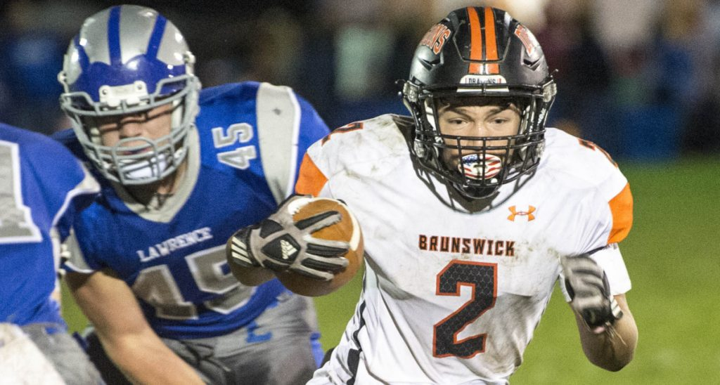 Cam Hathaway, one of the many Brunswick players who have switched roles this season because of injuries, was limited by an injury in the Class B North final last week but hopes to be OK for the state final Saturday against Marshwood.