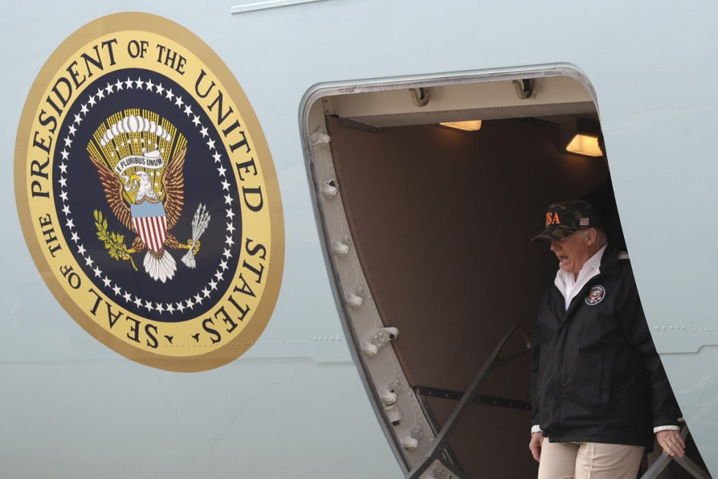 President Trump arrives on Air Force One at Beale Air Force Base for a visit to areas impacted by the wildfires.