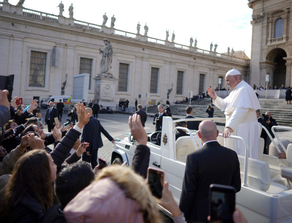 Pope Francis leaves at the end of his weekly general audience, in St. Peter's Square on Wednesday.