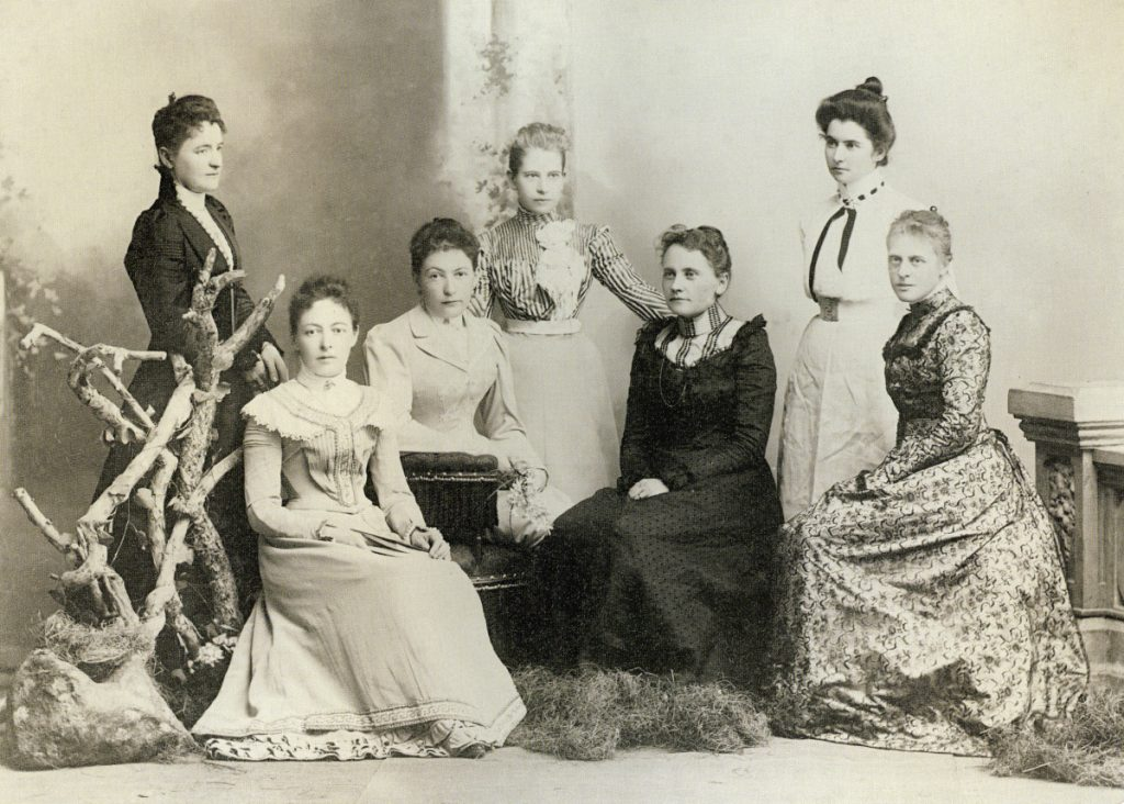 "AT LEFT: Eleanor Lord Pray, standing at right in this group of society women, ""discovered that she was in a privileged social situation in Vladivostok that she didn't enjoy (in Maine),"" says Nina Maurer, consulting curator at the Olde Berwick Historical Museum."