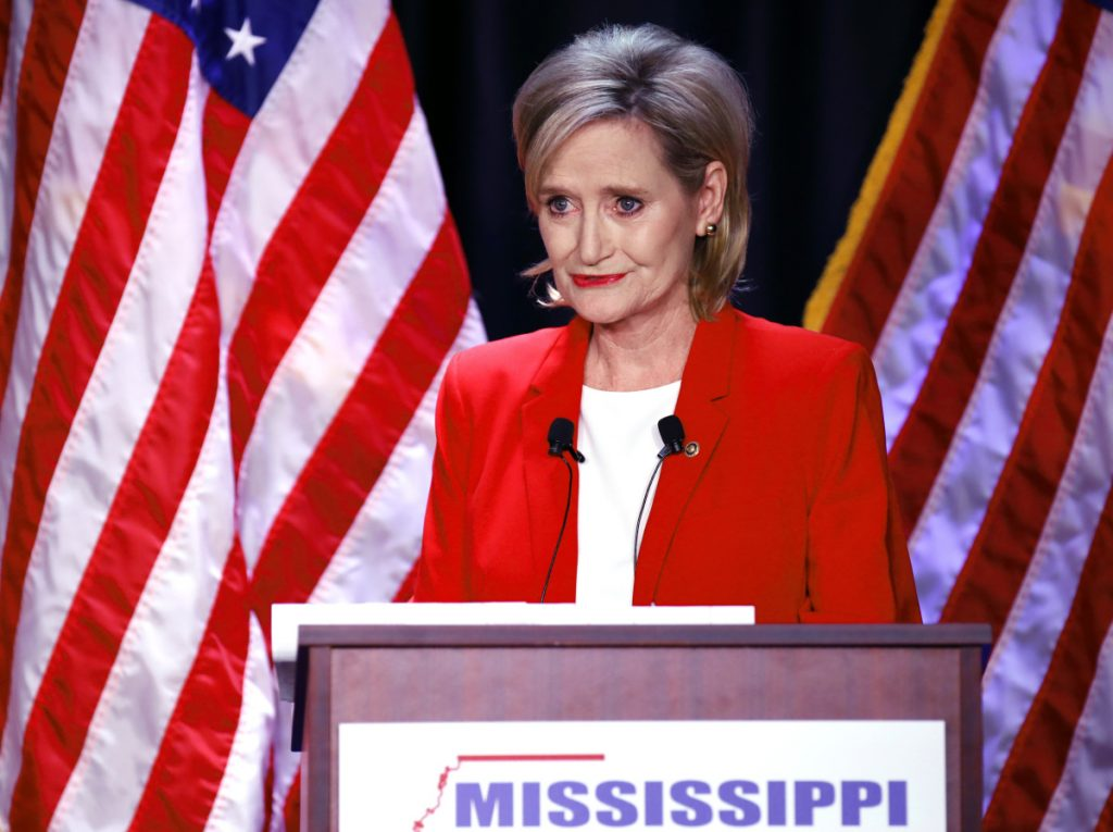 U.S. Sen. Cindy Hyde-Smith, R-Miss., speaks during a televised Mississippi U.S. Senate debate last Tuesday.