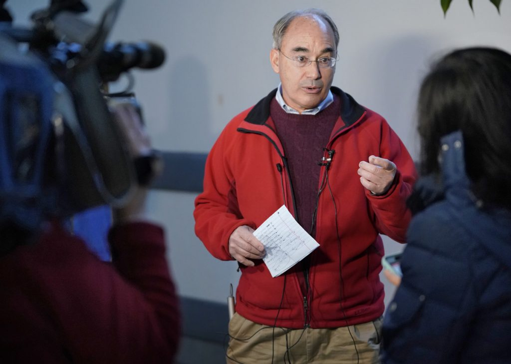 """It's time that we have real ballots counted by real people ... instead of this black box that computes who wins and who loses,"" Rep. Bruce Poliquin says."