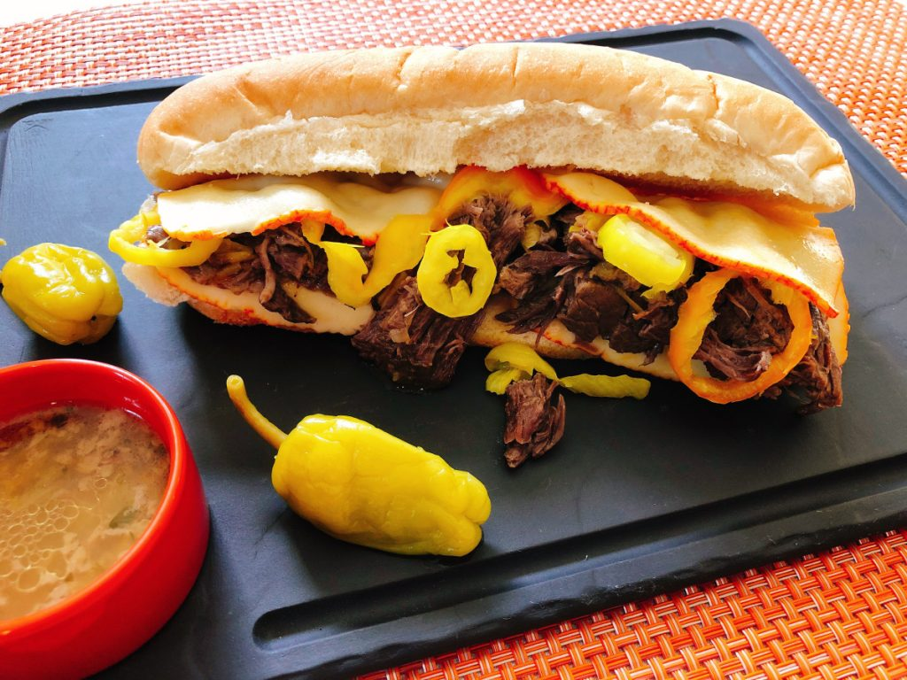 This recipe for Pickled Pepper Pull-Apart Beef makes six servings.