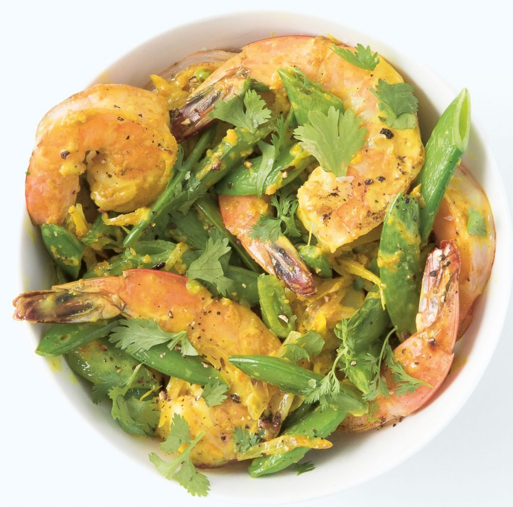 This recipe for Prawn and Sugar Snap Peas serves two people.