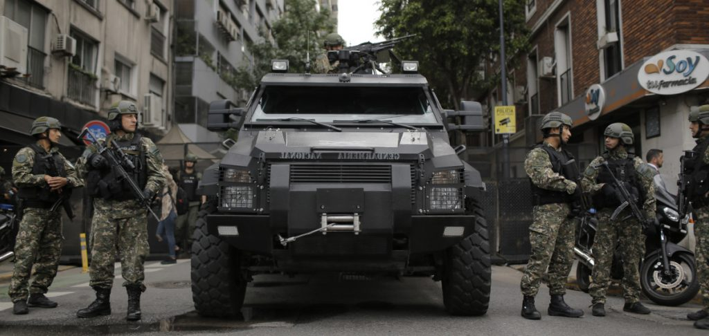 Border police block a street in Buenos Aires, Argentina. Thousands of police and security agents will guard the Group of 20 industrialized nations' world leaders during the two-day summit.