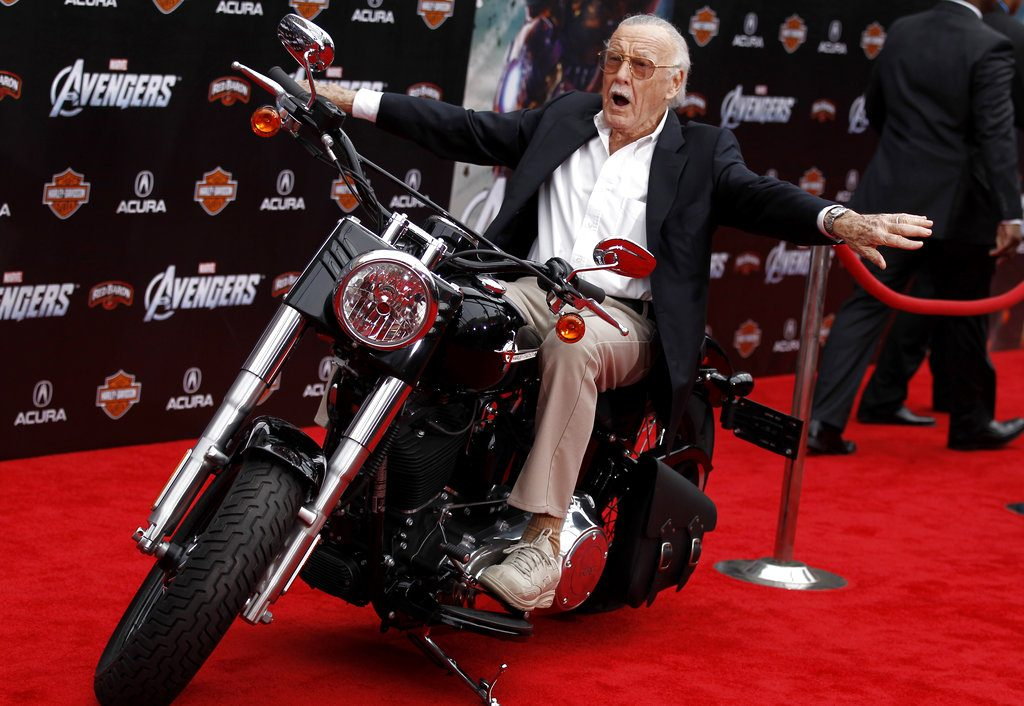 "Stan Lee arrives at the premiere of ""The Avengers"" in Los Angeles on April 11, 2012."