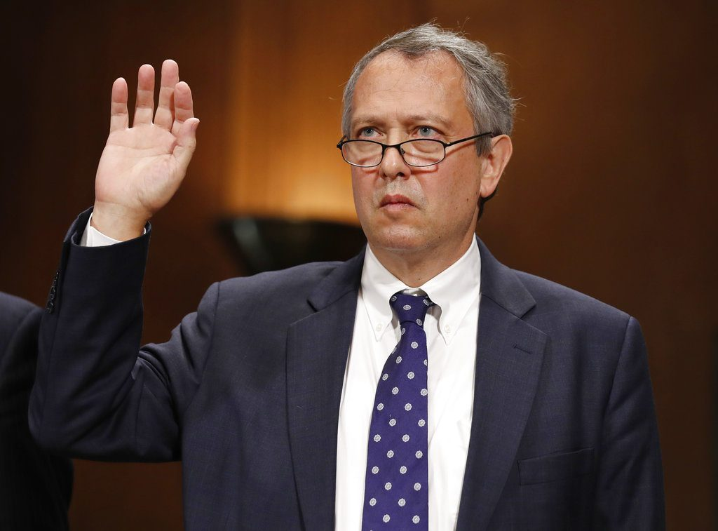 Thomas Farr is sworn in during a Senate Judiciary Committee hearing on his nomination to be a District Judge on the United States District Court for the Eastern District of North Carolina in 2017.