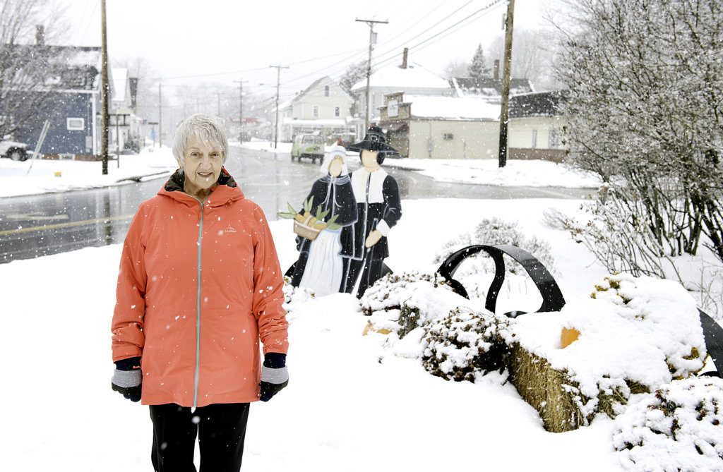 Faye Brown hopes to find the turkey missing from the Thanksgiving display in the center of Lisbon Falls.