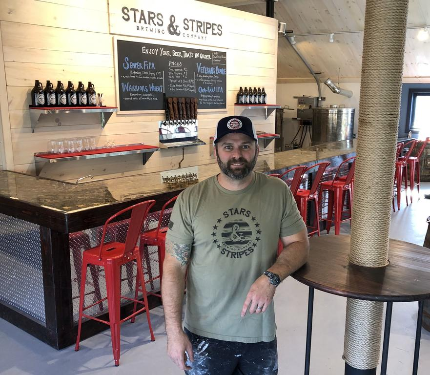 Brad Nadeau of Cumberland, a former Marine sergeant, plans to open Stars & Stripes Brewing in Freeport on Nov. 9.