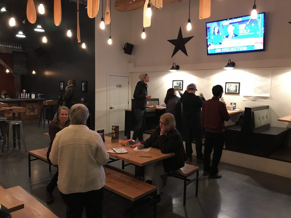 Supporters of Question 1 met Tuesday night at Stroudwater Distillery in Portland to watch the election results.