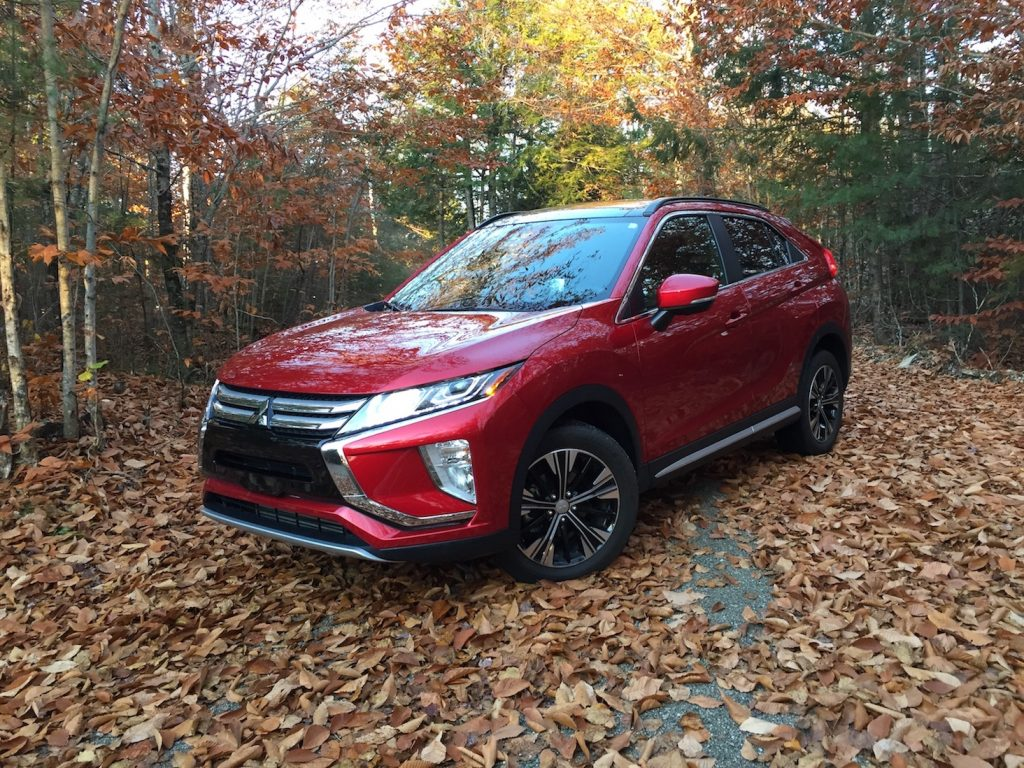 Mitsubishi Eclipse Cross base price: $23,295. (Photo by Tim Plouff. Location: Woods in Hancock County, Maine.)