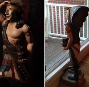 This wooden statue depicting a native American was stolen last week from a business in Kennebunk.