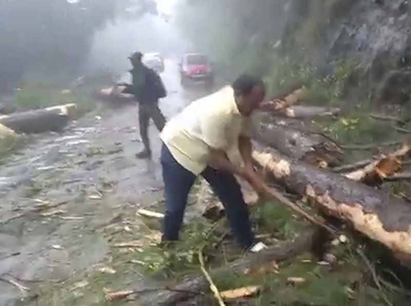In this still from a video, a man chops branches from a tree to clear a road after a cyclone struck Cuddalore, in the southern Indian state of Tamil Nadu on Friday.