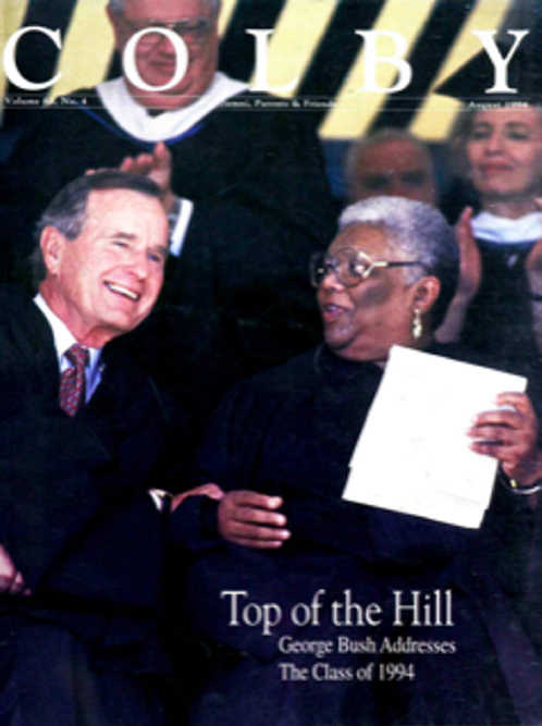 Former President George H.W. Bush appears on the cover of the August 1994 issue of Colby magazine, which contains a report about Bush's commencement address to the Colby College class that graduated that year.