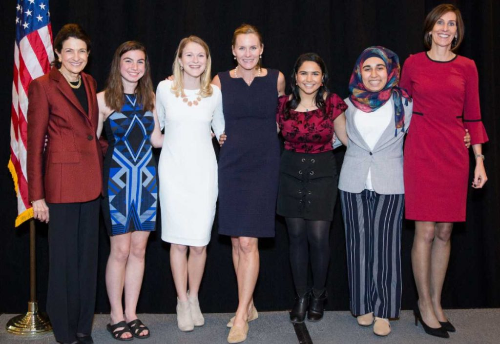 From left, former U.S. Sen. Olympia Snowe, founder of the Olympia Snowe Women's Leadership Institute, gathers recently with students Samantha Myers and Madeline Timberlake; Jenny Thompson, eight-time Olympia gold medalist and event speaker; students Arzoo Hassanzada and Zainab Al Matwari; and Andrea Gordon, Unum senior vice president of core segment at Portland High School.