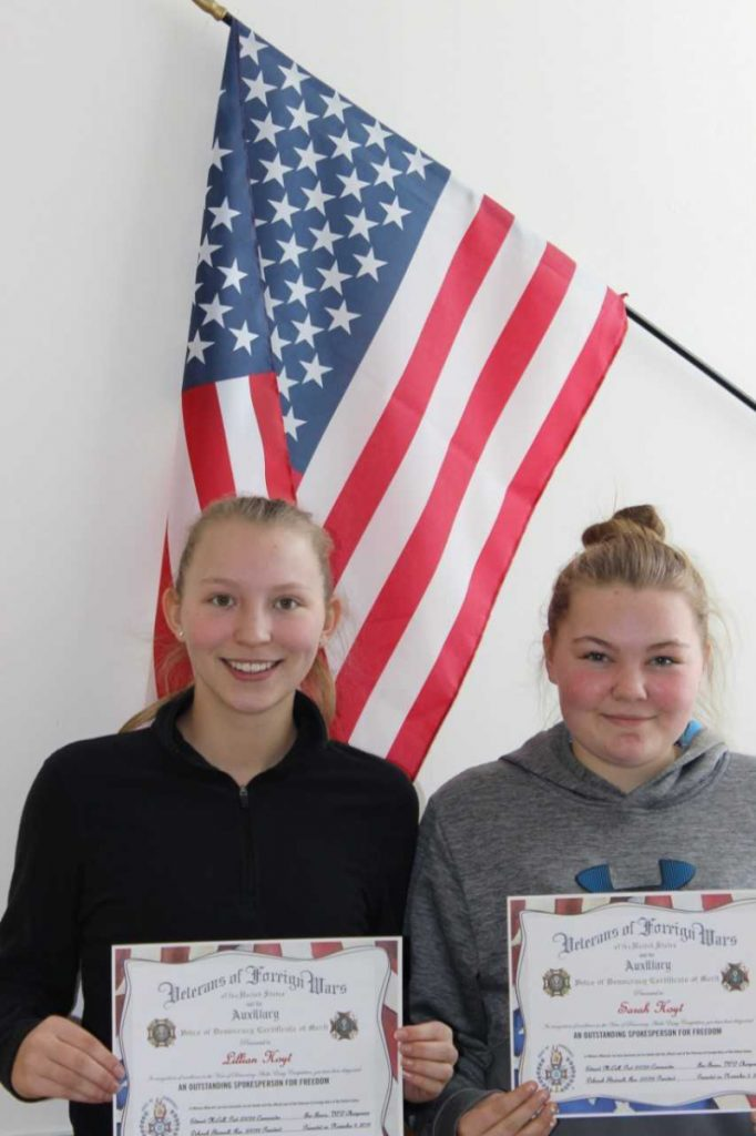 Voice of Democracy winners were Lillian Hoyt, left, and Sarah Hoyt.